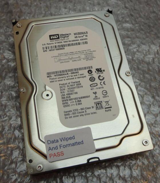 """250GB Western Digital WD2500AAJS-00B4A0 HGNNHT2EHN Caviar 3.5"""" SATA Hard Drive"""