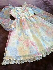 LIZ LISA See-through tulle dress Multicolor froral Lace-up S/S Japan Hime SizeM
