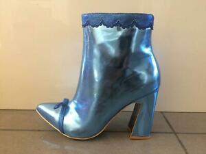 Irregular-Choice-039-039-Anastasia-039-039-B-Blue-High-Heel-Zip-Up-Black-Ankle-Boots-Shoes