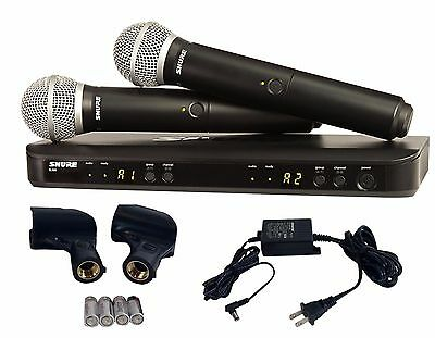 shure dual handheld uhf wireless microphone system blx288 pg58 h10 ebay. Black Bedroom Furniture Sets. Home Design Ideas