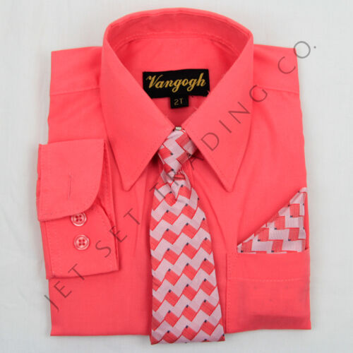 Toddler New Melon Dress Shirt Matching Tie Hankie Long Sleeves Sizes 2T,3T,4T