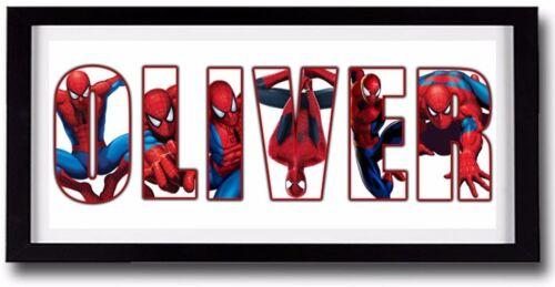 SPIDERMAN Personalised Name Print Art Amazing Gift Ideas Super Heroes