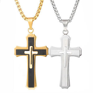 Cross-Pendant-Necklace-Stainless-Steel-Unisex-Crucifix-Men-Women-With-Chain