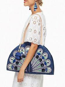 KATE SPADE Peacock Full Plume Straw Handbag Shoulder Bag NWT travel tote wicker