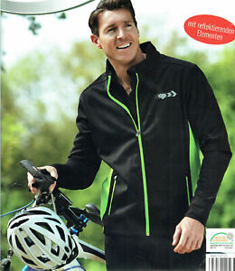 Herren-Softshelljacke-Jacke-mit-reflektierenden-Elementen-Fahrradjacke-Oko-Tex