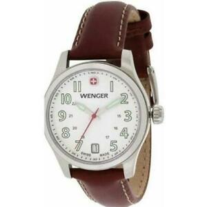 Wenger-0521-101-Women-039-s-Swiss-Quartz-Dial-Color-White-Leather-Band-Watch