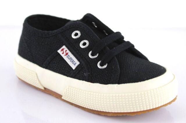 72d5a15a3 Superga Bebé Zapatillas Cordón Zapatos de Textil Negro Náuticos Infantil Uni