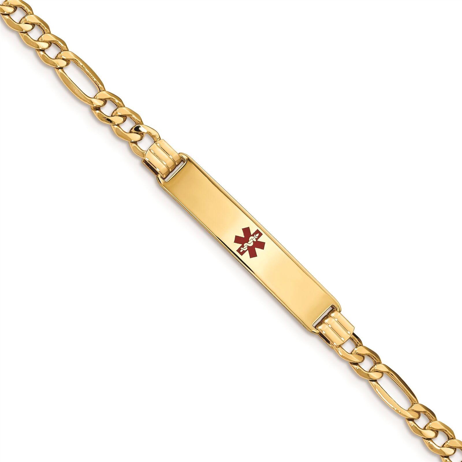 14K Yellow gold Figaro Link 7 MM Engravable ID Medical Alert Bracelet MSRP  1343