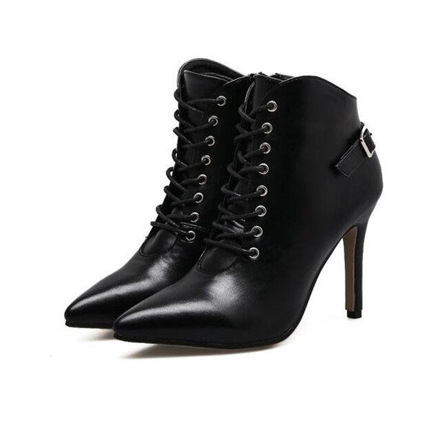 botas bajo tacón de aguja 9.5 cm negro cordones elegantes como piel 9444