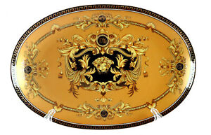 14-034-Euro-Porcelain-Medusa-Fine-Bone-China-Oval-Platter-Gold-Serving-Tray