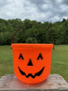 VTG-Carolina-Ent-Pumpkin-Halloween-Blow-Mold-Trick-or-Treat-Candy-Bucket-Pail