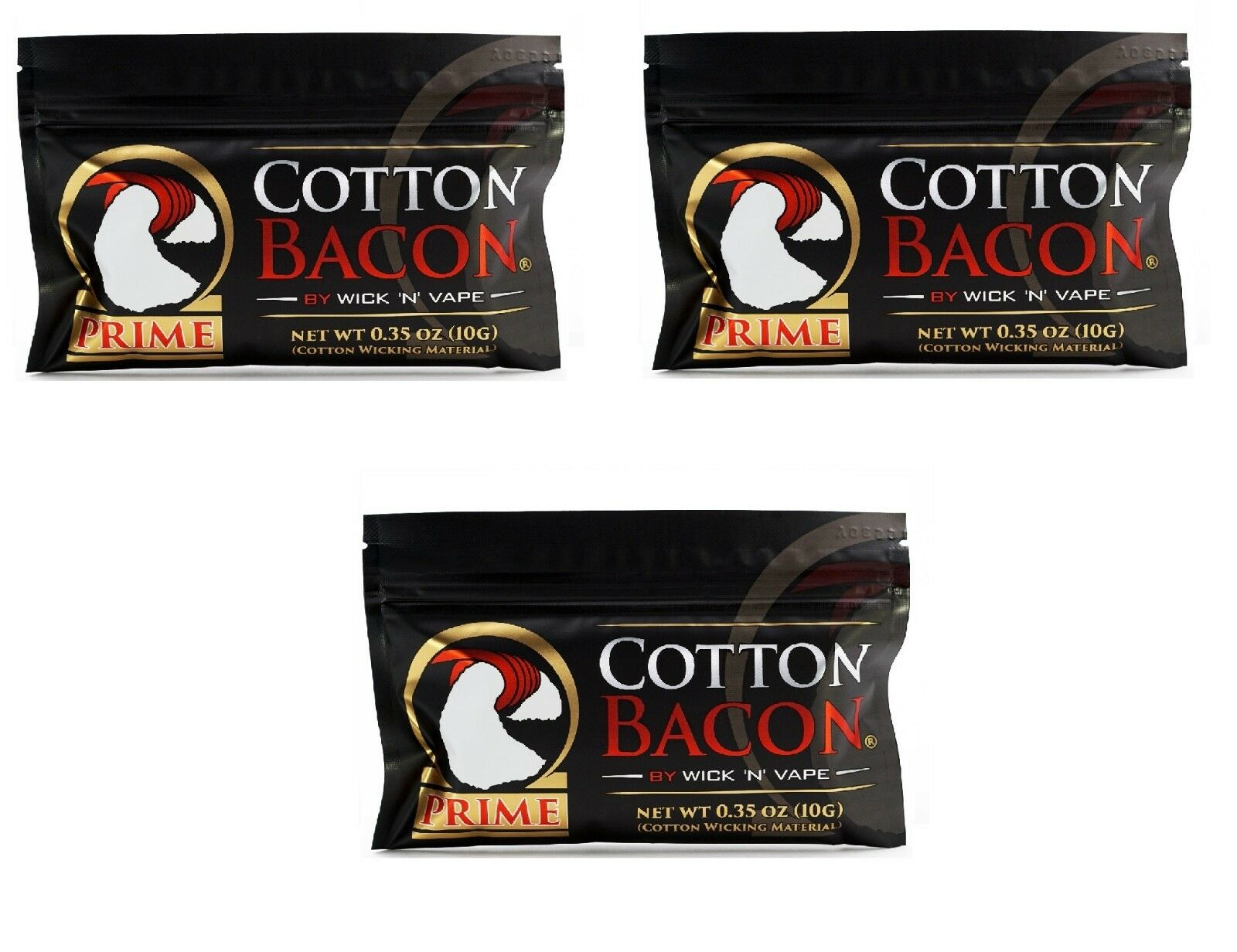 1Pack Cotton Bacon PRIME By Wick /'N/' Vape Organic Wicking Material Tasteless