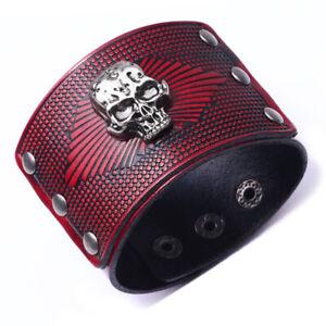39c0bed49341e Vintage Mens Leather Bracelet Skull Wide Hand Snap Cuff Bangle Gift ...
