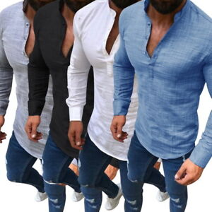 Mens-Stylish-Slim-fit-Dress-T-Shirt-Long-Sleeve-Linen-Shirts-Casual-V-Neck-Tops