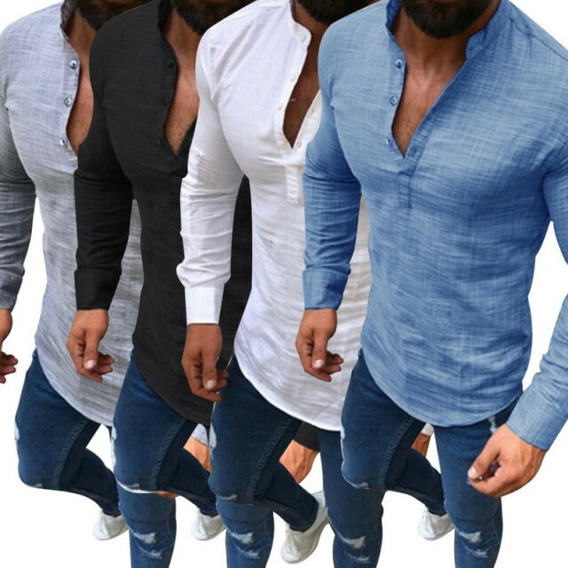 Mens Casual T Shirt Long Sleeve Linen Shirts Casual Breathable Soft V-Neck Tops