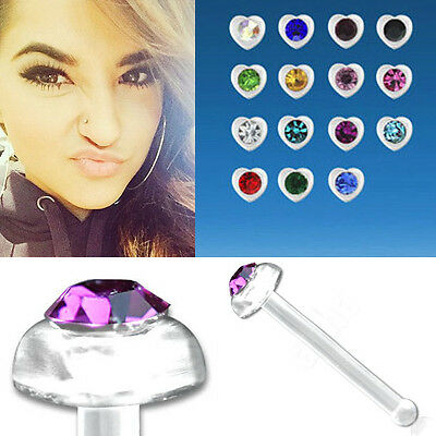 Clear Acrylic Nose Stud w// Various Color Star Shaped Top 1.4mm Round Crystal Set