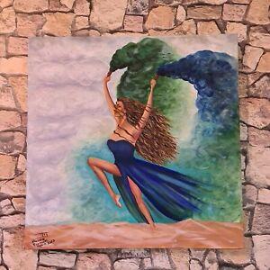 Original Gemälde Acrylbild Frauen Akt Rauchfarben modern Malerei Kunstwerk 70x70