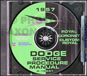1957 Dodge Car Repair Shop Manual 57 Coronet Royal D500 Custom Sierra Suburban