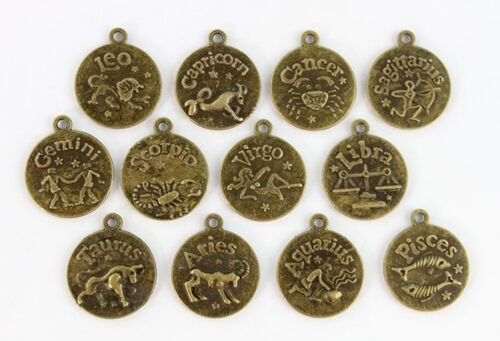 Zodiac Symbol Antiqued Bronze 16mm Medallion Astrology Traditional Charm -CHOICE
