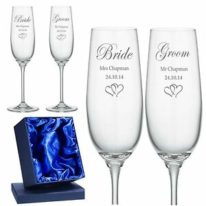Image Is Loading Personalised Engraved Champagne Flutes X 2 Wedding Day