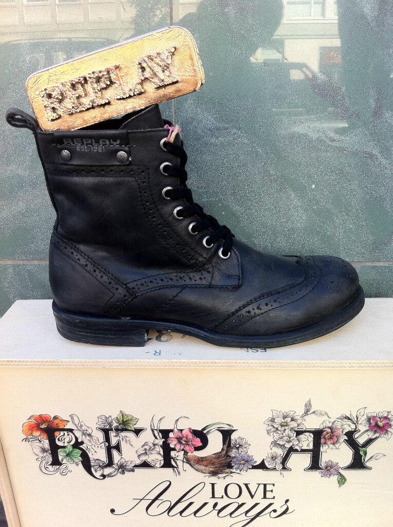 Replay zapatos caballero zapatos zapatos botas de cuero Soest negro negro
