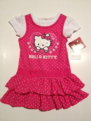 HELLO KITTY PINK//WHT DRESS .GLITTERY HEART RUFFLE TIER SKIRT..NWT..VERY CUTE