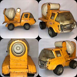 1960-039-S-Mini-Tonka-Concrete-Cement-Mixer-Orange-Yellow-Truck-Pressed-Steel