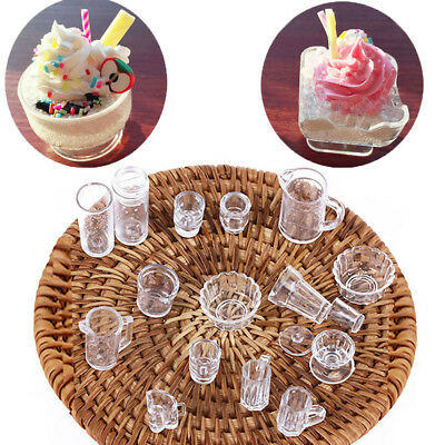 Dish Bowl Set 15PCS 1:12 Scale Doll House Tableware Plate Cup
