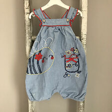 Baby Girl Romper Size 6-9 Months Blue Stripe Red Yellow Bee Floral Summer Outfit