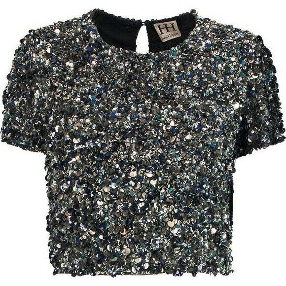Haute Hippie Embellished Beaded Crop Top XS  NWT