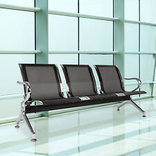 3 Seat Airport Waiting Chair Guest Reception Salon Barber Hospital Bench Black