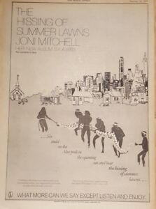 Joni-Mitchell-hissing-summer-lawns-1975-press-advert-Full-page-28-x-39-cm-poster