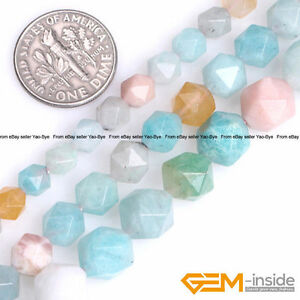 Natural-Multi-Color-Peru-Amazonite-Gemstone-Polygonal-Faceted-Round-Beads-15-034-YB