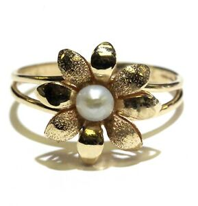14k-yellow-gold-womens-flower-pearl-ring-2-9g-estate-vintage-antique-womens
