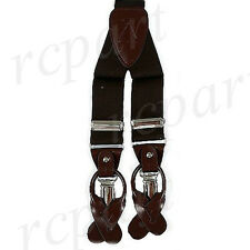 New in box Men's Suspender elastic braces Brown clips buttons wedding prom