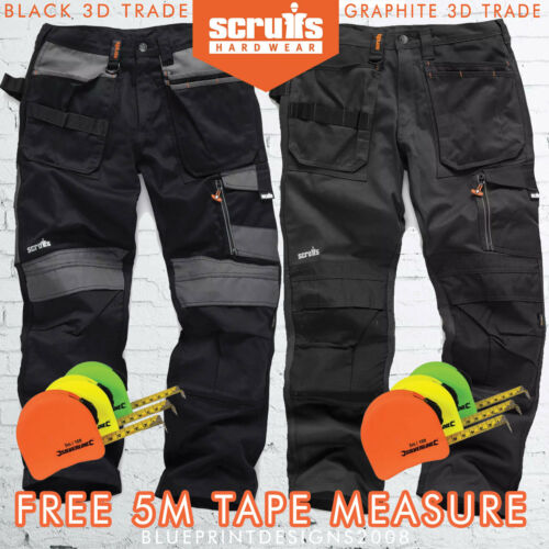 SCRUFFS 3D TRADE Black//Graphite Trousers Multipocket  ALL SIZES 5M TAPE FREE !