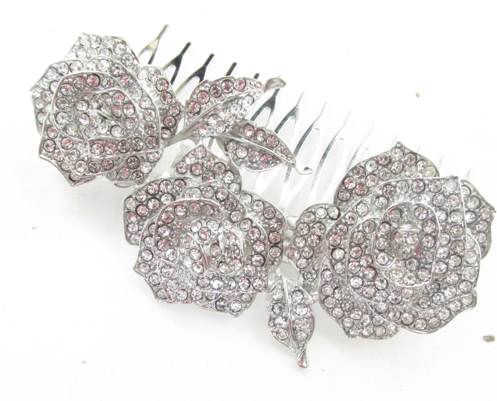 Silber Rosa Blaume Haufen & Blätter Haarkamm Braut Crystal Vintage 1920s j20 | Billig  | Outlet  | Guter Markt