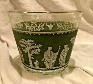 Vintage-Wedgwood-Jasperware-Glass-Ice-Bucket-Jeannette-Glassware-Green