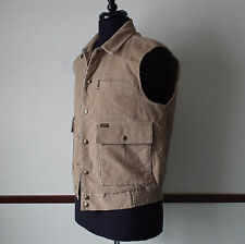 Vintage Lee Corduroy Snap Button Vest Quilted Liner Beige Size M - Made in USA