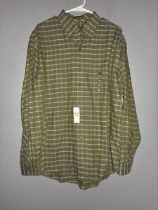 4672627b371 VAN HEUSEN Long Sleeve GREEN PLAID CHECK-Button Front SHIRT LARGE 16 ...