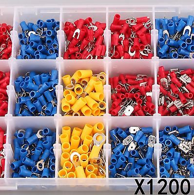 1200 X Assorted Insulated Electrical Wire Terminal Crimp Connector Spade Set Box