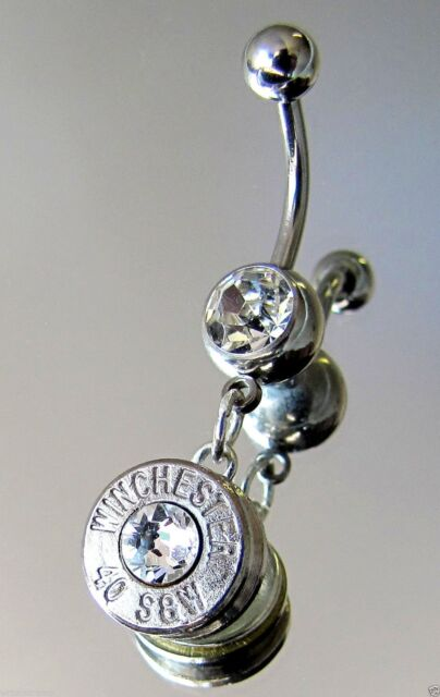 CHOICE WINCHESTER Bullet Belly Navel Ring Crystal Silver 40 S&W 9mm 357 Magnum