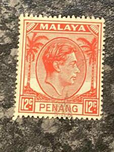 MALAYAN-STATES-PENANG-POSTAGE-STAMP-SG12-12C-SCARLET-FINE-USED