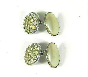 Vintage-Sarah-Coventry-Pearl-Wardrobe-Reversible-Rhinestone-Clip-Earrings-Signed