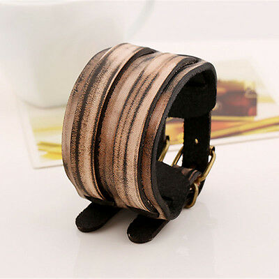Fashion Unisex Men Women Cool Wide Leather Bracelet Cuff Wristband Bangle New