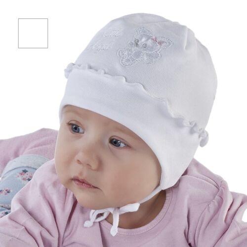 Spring baby hat Christening white hat little girl size 38 44 newb-9 months 42