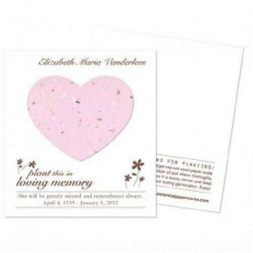 50 Coeur Plantable Memorial cartes avec Free Personnalisation