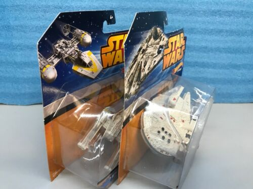 MILLENIUM FALCON /& Y-WING HOT WHEELS STAR WARS STARSHIP SERIES Lot Of 2 2014