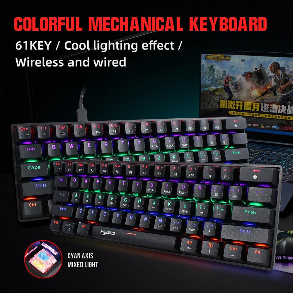 61 Keys USB Wire Mechanical Gaming Keyboard Multicolour RGB Backlighting Type-C
