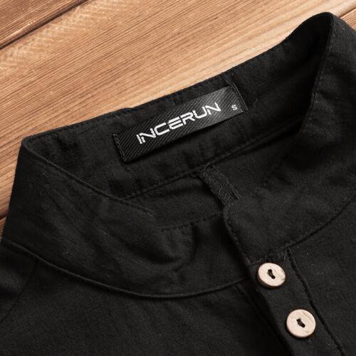 Mens Kurta Shirt Long Sleeve Grandad Neck Summer Button T Shirt Short Kaftan UK